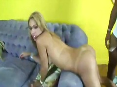 Blonde tranny taking b...