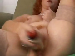 mature, redhead, cougar, mom, older, squirt, milf, wife, masturbation, hardcore