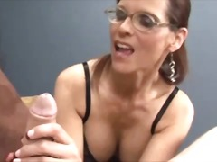 Horny milf gets facial...