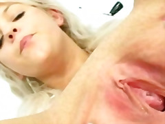 Blond nurse sabina dressing off then dildoying herself on gynochair