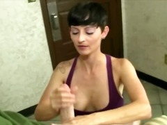 Horny milf wants a facial from her yo...
