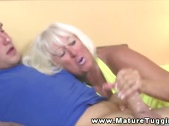 Mature granny tugging dick for lucky guy