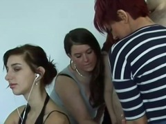 Xhamster Movie:Femdom group tugging subject c...