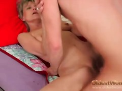 Old mom is slim and sexy as she fucks...