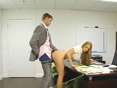 Blonde secretary bent ...