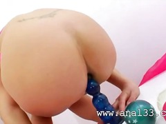 Blond teen destroying her tight anal