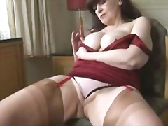 Big tits mature panty play and stript...