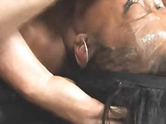 Fat ebony chick fucked & facialized