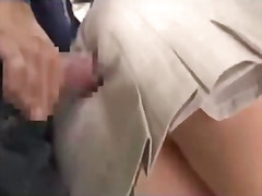 Office lady getting her ass rubbed with cock by a man while standing on the tube cum to ass