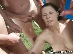 Old mature grandma spoiling three dicks