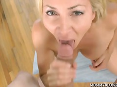 blonde, milf, oral, titjob, big boobs, busty, nipples, tits, big ass, natural boobs, big cock, pov, couple, blowjob, milk, swallow, small tits