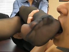 Feet kissing office girls preview