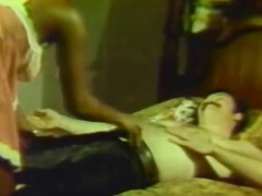 retro, couch, couple, 1960s, underwear, black, bed