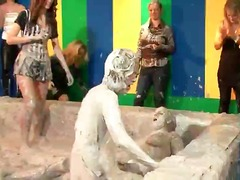 It's the battle of the eurobabes once again in this allwam mud wrestling scene, and this time wom...