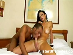 Big boobed shemale gives oral