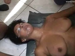 Nasty slut sucks big cocks