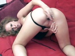 Curly hair girl in black slip masturb...