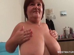 Mature busty babe mast... video