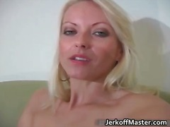 Hot sexy horny milf blonde jerks her