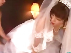 Asian girl in wedding dress fucked by...