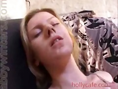 See: Blonde using dildo and...