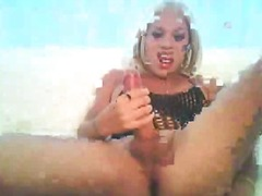 shemale, jerking, blonde, solo