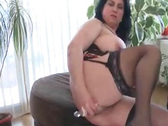 Busty mature bbw tries sex toys in ha...