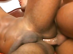 Black beefy gay stud got hurt in anal penetration