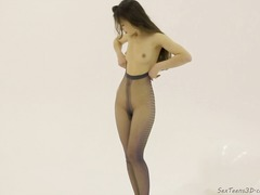 Slim babe posing and t... video