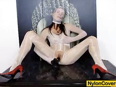 Brunette wears nylons ... - PornerBros