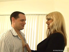 Blonde milf pays tv re... video