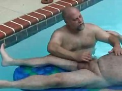 mature, fat, bear, handjob, outdoors,