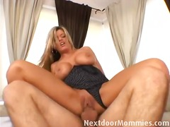 couple, mature, blonde, facial, tits,