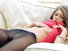 Beautiful chick anjelica inside pantyhose touches her tits