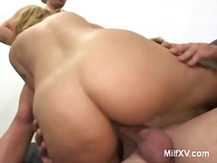 Busty milf gets double...