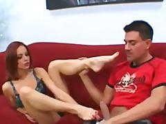 Redhead foot job video