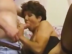cumshot, lingerie, voyeur, brunette, mature, anal, threesome, fishnets, facial