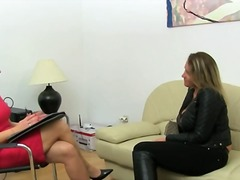 Mature glamour fucking on leather couch