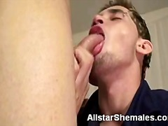 Cute blonde trans deep throating