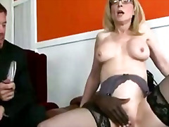 busty, housewife, voyeur, riding, black, cuckold, stockings, ass, milf, boobs, cock, mommy, stocking, mom, booty, butt, blonde
