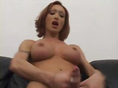 Redhead ts cock jerking video