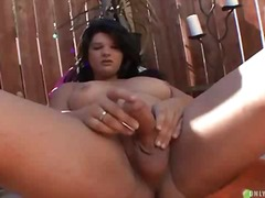 Lonely bbw ts jerks in an yard