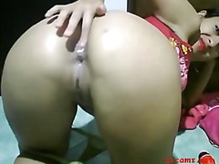 brunette, gape, webcam, anal, dildo