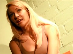 Blonde beauty talks and strips solo t...