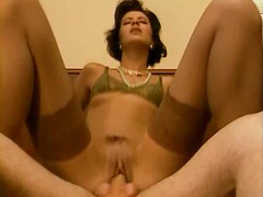 stocking, brunette, blowjob, milf