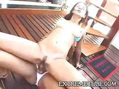 Hard sex of a slim tranny and her lover chick