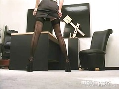 office, toy, big, dildo, stocking
