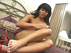 Solo brunette with big boobs beating off