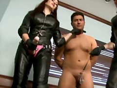 Xhamster Movie:Two doms use office slave with...