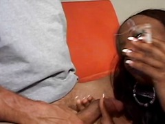 ebony, black, interracial, handjob, milf, brunette, blowjob